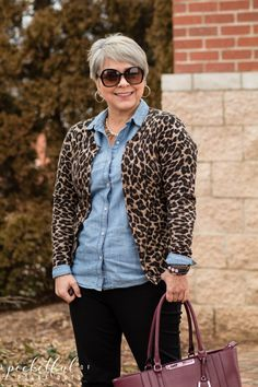 Styling basics today with my chambray shirt, cognac boots, and a leopard cardigan. Easy winter style to get out the door quickly, while still looking put together. Leopard Cardigan Outfit, Leopard Print Outfits, Leopard Print Cardigan, Leopard Prints, Chambray Shirt Outfits, Business Casual Outfits For Women, Fall Outfits, Work Outfits, Teacher Outfits