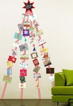 DIY Christmas tree wall art with masking tape and greeting cards christma card, christmas cards, display christma, holiday cards, christma idea, card displays, card holder, wall stickers, christmas trees