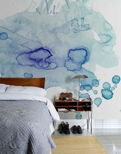 modern wall decorating with interior paint and watercolor decoration patterns - Bedroom Design Ideas Watercolor Wallpaper, Watercolor Walls, Watercolors, Watercolor Design, Easy Watercolor, Photo Wallpaper, Wallpaper Murals, Beautiful Wallpaper, Bedroom Wallpaper