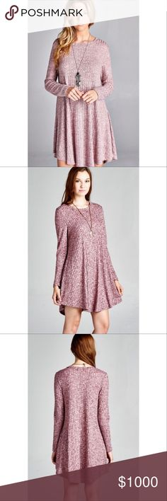 Coming Soon ~Arrives This Week Like to be Notified Boho Gorgeous pink/mauve ribbed, sweater tunic dress featuring an A-line silhouette and round neckline. Material: 52%RAYON44%POLYESTER4%SPANDEX. Made in USA No Trades. Price is firm unless bundled. 10% off 2 or more items or 20% 3 or more items. GlamVault Dresses Long Sleeve