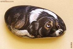 "Oh my goodness! This painted rock looks SO much like our little dog Harley! Love those eyes! :)  If you click on the ""hand painted rocks"" link at the top of the picture you see MANY more beautiful painted rocks of all kinds!"