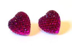 Handmade vintage purple sparkly heart earrings by myvintagedesigns, £3.00