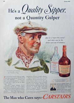 Carstairs Whiskey   Gin  Vintage Print Ad  30 s Illustration Jim Danforth  art by James Flagg