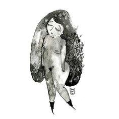 """""""Yo no sé de pájaros, no conozco la historia del fuego. Pero creo que mi soledad debería tener alas."""" Alejandra Pizarnik.  Día Mundial De La Poesía  #SaraFratini #illustration #ilustracion #poesia #poetry #DiaMundialDeLaPoesia #musa #muse #watercolor #drawing #acuarela #alejandrapizarnik"""