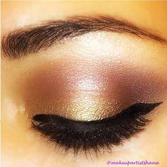 lovely gold & bronze eye makeup look