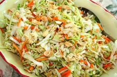 Oriental Salad with Ramen Noodles-1 bag of cole slaw   1 bag of broccoli cole slaw (shown below)  1 pkg. Oriental ramen noodles  1 small bag of slivered almonds  cashews or peanuts (optional)      Dressing  1/2 cup canola oil  1/2 cup sugar  1/4 cup cider vinegar  2 TBS. soy sauce  Season packet from the Ramen noodles