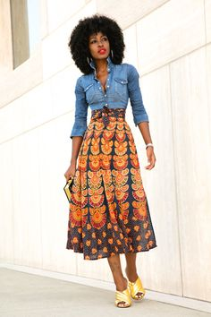 I love the idea of pairing a denim shirt with a printed skirt. And I am a sucker for midis!