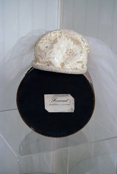 """Forecast"" Headpiece and Veil for Wedding Dress, Kauffman, Pittsburgh: 1950's,  Chantilly lace appliqued silk satin, pearls, tulle."