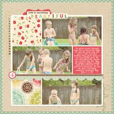 Life Is Incredibly Beautiful - Scrapbook.com - The vintage feel of this page is just lovely. #scrapbooking #digital