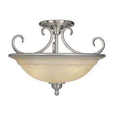Cascadia Lighting Omni 16.5-in W Satin Nickel Alabaster Glass Semi-Flush Mount Light