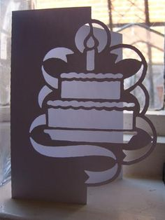 BIRTHDAY CAKE OVER THE EDGE CARD SVG on Craftsuprint designed by Clive Couter - svg files