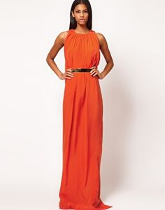 Love this for a formal event - Aqua Gable Cape Back Belted Maxi Dress