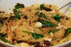 Gluten free! Supergreen Spaghetti Squash with Pancetta, Goat Cheese and Pine Nuts
