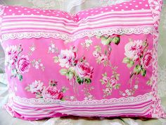 Romantic Ava Rose Pillow with Lace Pink Love, Pretty In Pink, Hot Pink, Bright Pink, Cute Pillows, Sewing Pillows, Linens And Lace, Everything Pink, Shabby Cottage