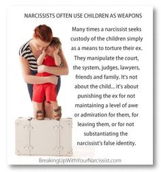Arm yourself with knowledge on how to co-parent with a Narcissist and be there for your children, to pick up the pieces when they have been with the narc for at least one minute.