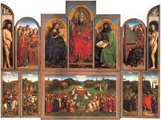Jan Van Eyck (possibly with his brother Hubert's help-see Lotte Brand Philip) Adoration of the Mystic Lamb (Ghent Altarpiece) 1432 (St. Bavo's Cathedral, Ghent, Belgium).