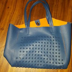 Adorable vegan leather 3piece tote Royal blue, comes with accessories Reposh, didn't show orange in pic, Great for Broncos or Mets fan, cute with jeans, Huge color combo Spring 2016 none Bags Satchels