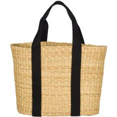 Joie Muun Caba G Tote ($116) ❤ liked on Polyvore featuring bags, handbags, tote bags, purses, totes, natural with black natural, straw tote handbags, beach tote, man bag and straw beach tote