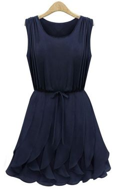 ++ Navy Sleeveless Ruffles Pleated Chiffon Dress