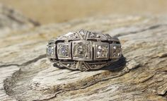 Vintage Antique Old Mine Cut Diamond Unique Engagement Ring 18k Yellow Gold & Silver Victorian by DiamondAddiction on Etsy