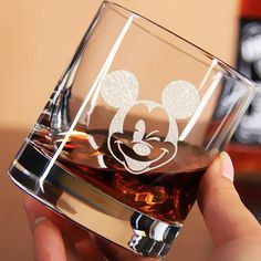Mickey Mouse Engraved Whiskey Glass Disneyland Mickey Mouse