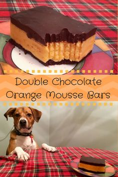 Orange mousse surrounded by a brownie bottom and topped with a chocolate ganache.