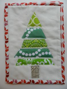 Christmas Tree Mug Rug Mini Quilt