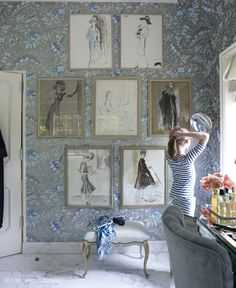 I love the vintage illustrations and beautiful wallpaper in the dressing area! #thewelldressedroom