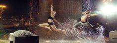 Trendykunst presenteert dit prachtige glasschilderij van een samendans in e regen.  Gekleurd, directe print van afbeelding op glas.