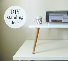 to Make a DIY Standing Desk Add-On Tutorial: How to make a DIY standing desk tabletop add on. Super easy and inexpensive way to turn your normal desk into a standing desk.Still Standing Still Standing may refer to: Diy Standing Desk, Desk Riser, Desk Hacks, Stand Up Desk, Interior Design Business, Diy Desk, Office Decor, Ikea Office, Office Spaces