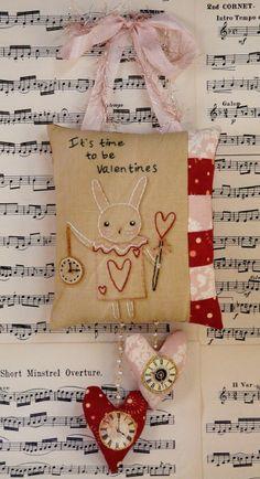 Valentine white rabbit embroidery Pattern PDF - hanger clock vintage like heart primitive stitchery pillow