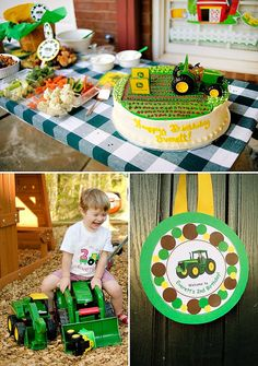 {John Deere Inspired} Tractor Birthday Party with farm field cake, free tractor rides, tractor piñata, cowboy caviar, chicken feed, balloons & more!
