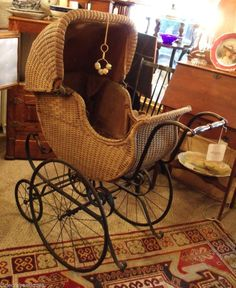 Antique 1895 F A WHITNEY CARRIAGE CO WICKER PERAMBULATOR Baby Buggy Stroller