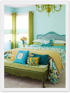 Green and blue bedroom.