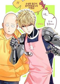 Genos, Saitama, text, apron; One Punch Man
