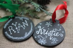 Personalized Chalkboard Ornament,  Christmas Chalkboard Ornament, Christmas Decor, Handpainted ornament