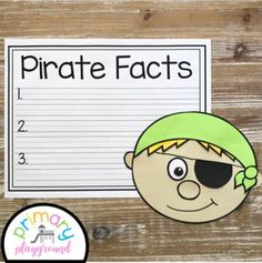 Pirate Craft With Writing Prompts/Pages by Primary Playground | TpT