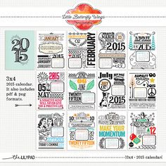 2015 3x4 Calendar Cards by Little Butterfly Wings at The Lilypad