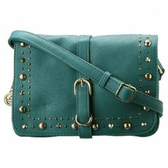 Big Buddha Eleanor Crossbody Bag-Teal - Be the epitome of casual-chic carrying the Big Buddha Eleanor Features a studded front with buckle a...