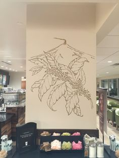 Starbucks Mural - Morgantown, WV. Blooming Coffee branch mural with volcano in the background. www.artfxdesignstudios.com
