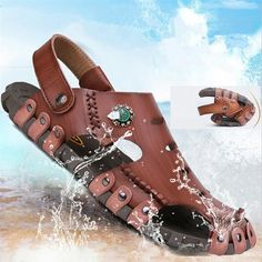 High-quality Men Stitching Hole Breathable Soft Non-slip Outdoor Leather Waterproof Sandals - NewChic Mobile