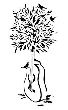 Guitar Tree - Scherenschnitte  By: Kellie Cox  www.kelliecox.com