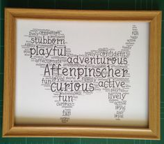 Affenpinscher dog unique word art framed print by YourDogInWords