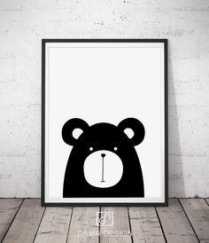 Bear Nursery Art Print Animal Nursery Print di DamaDigitalDesign