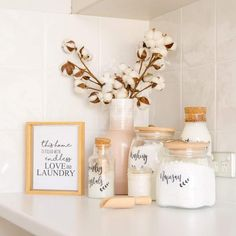 Laundry Label Sets - Kmart Jars - Laundry decor - Throw out your old boxes and give yourself a treat by these gorgeous labels and make a display of t - Laundry Decor, Laundry Storage, Laundry Hacks, Laundry Room Organization, Laundry Room Design, Laundry In Bathroom, Laundry Detergent Storage, Bathroom Jars, Laundry Labels
