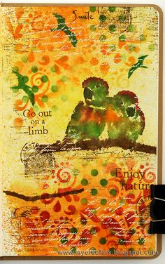 Layers of ink - Out on a Limb, art journal page by Anna-Karin. Made for Simon Says Stamp Monday Challenge Blog, using Ranger Distress products, and stamps by Darkroom Door.