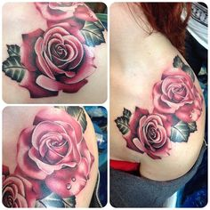 Realistic rose tattoo by Jen Sterry #Realism #Rose #Tattoo