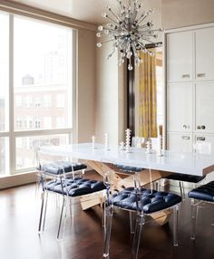 Amanda Nisbet Design: Chic, modern dining room with Plexi-Craft George II Chairs paired
