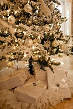 christmas morning and a beautiful christmas tree christmas holiday white decorations