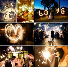 """Awesome pics with sparklers for the wedding! I am also having our wedding party write """"Leonard"""" with sparklers so we can blow it up and frame it for the living room! :)"""